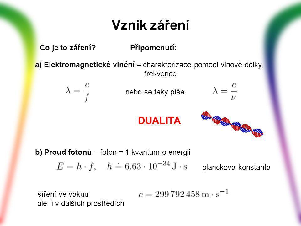 a) Elektromagnetické vlnění – charakterizace pomocí vlnové délky, frekvence nebo se taky píše DUALITA b) Proud fotonů – foton = 1 kvantum o energii planckova konstanta -šíření ve vakuu ale i v dalších prostředích Vznik záření Co je to záření?Připomenutí: