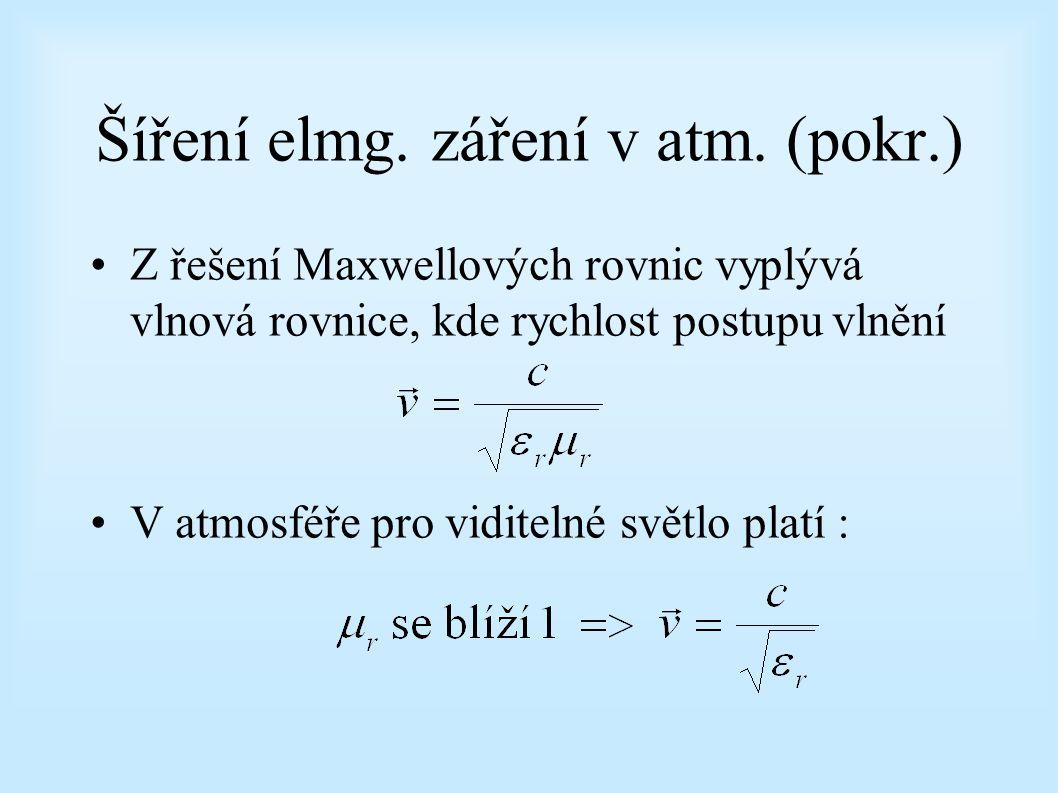 Šíření elmg. záření v atm. (pokr.) Z řešení Maxwellových rovnic vyplývá vlnová rovnice, kde rychlost postupu vlnění V atmosféře pro viditelné světlo p