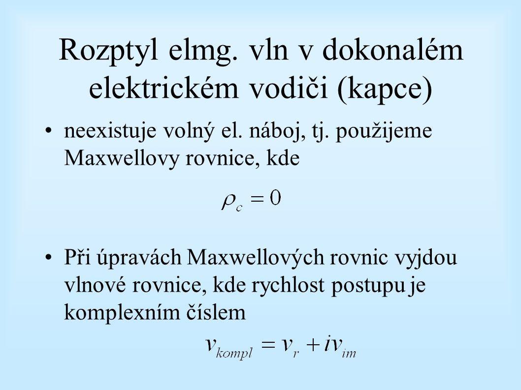 Rozptyl elmg. vln v dokonalém elektrickém vodiči (kapce) neexistuje volný el. náboj, tj. použijeme Maxwellovy rovnice, kde Při úpravách Maxwellových r