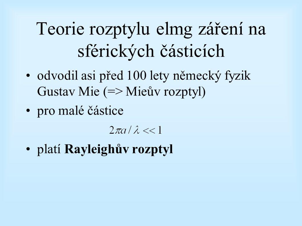 Teorie rozptylu elmg záření na sférických částicích odvodil asi před 100 lety německý fyzik Gustav Mie (=> Mieův rozptyl) pro malé částice platí Rayleighův rozptyl