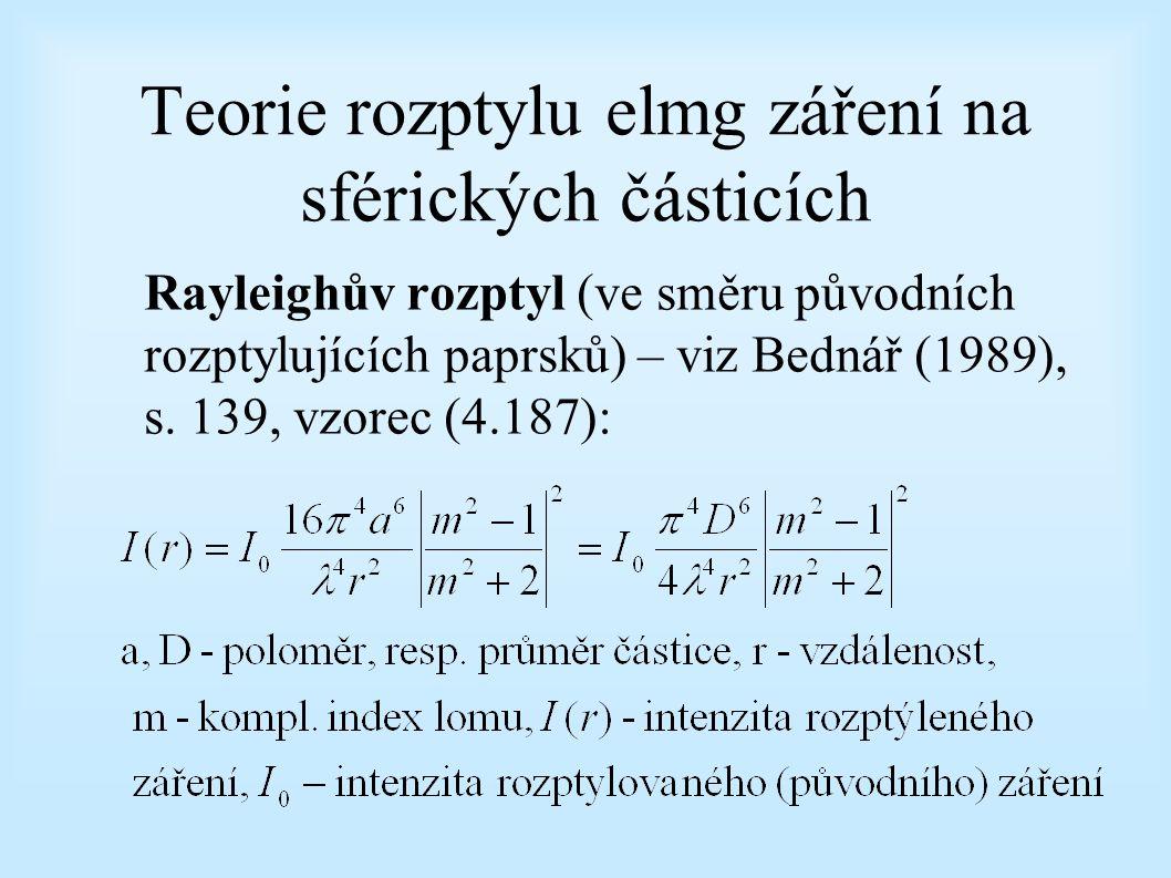 Teorie rozptylu elmg záření na sférických částicích Rayleighův rozptyl (ve směru původních rozptylujících paprsků) – viz Bednář (1989), s. 139, vzorec
