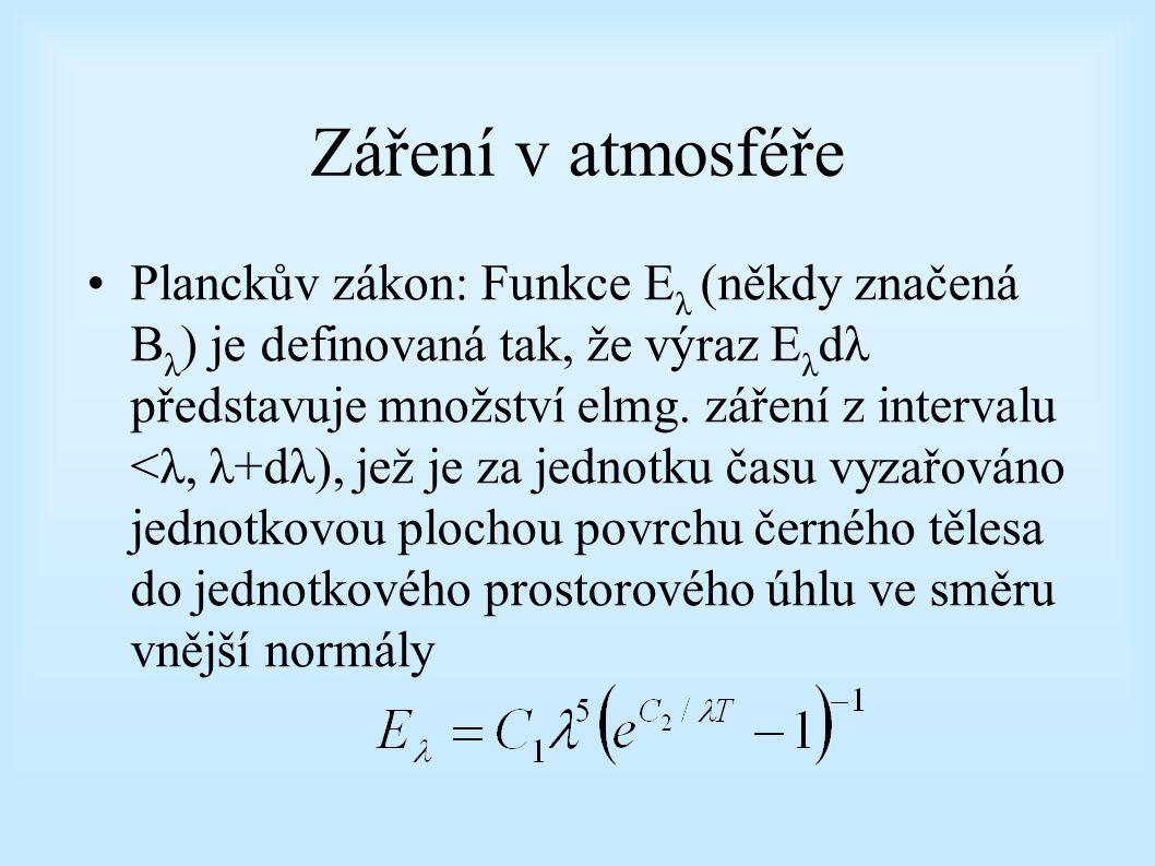 Záření v atmosféře Planckův zákon: Funkce E λ (někdy značená B λ ) je definovaná tak, že výraz E λ dλ představuje množství elmg. záření z intervalu <λ