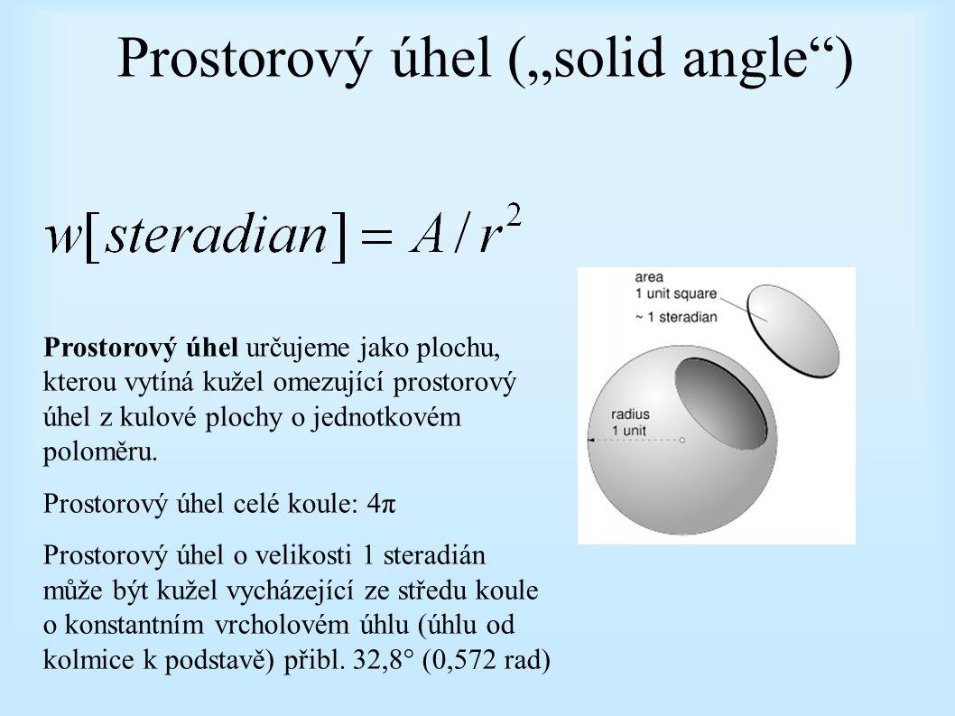 """Prostorový úhel (""""solid angle"""") Prostorový úhel určujeme jako plochu, kterou vytíná kužel omezující prostorový úhel z kulové plochy o jednotkovém polo"""