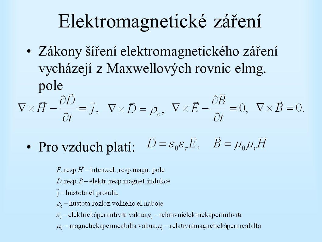 Elektromagnetické záření Zákony šíření elektromagnetického záření vycházejí z Maxwellových rovnic elmg. pole Pro vzduch platí: