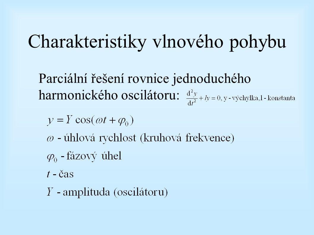 Charakteristiky vlnového pohybu Parciální řešení rovnice jednoduchého harmonického oscilátoru:
