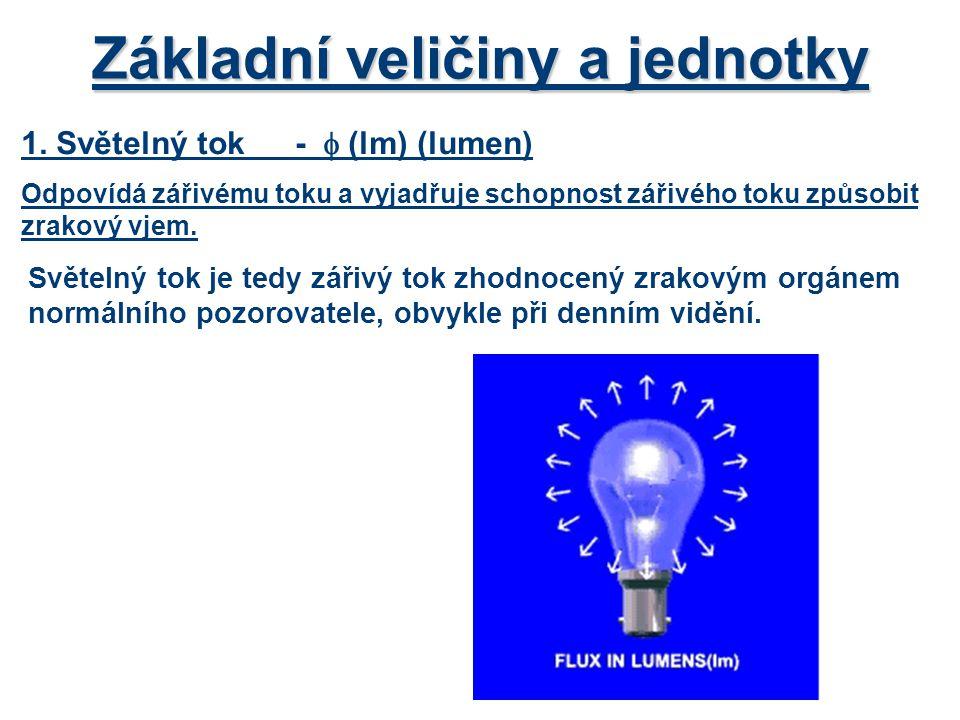 Základní veličiny a jednotky 1. Světelný tok-  (lm)(lumen) Odpovídá zářivému toku a vyjadřuje schopnost zářivého toku způsobit zrakový vjem. Světelný