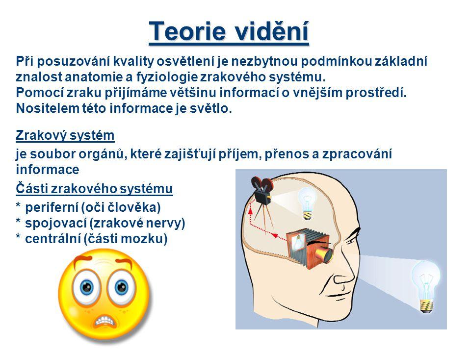 """Teorie vidění Systémy oka: *optický-získání optické informace-(rohovka až sítnice) *nervový-zpracování informace- sítnice, fotoreceptory - čípky (denní vidění), tyčinky (noční vidění) a """"C (řízení biologických pochodů ve 24 hodinovém cyklu – biorytmy) Zachycená světelná informace je nejprve zachycena na sítnici oka prostřednictvím tyčinek (na kraji sítnice) a čípků (u středu sítnice)."""