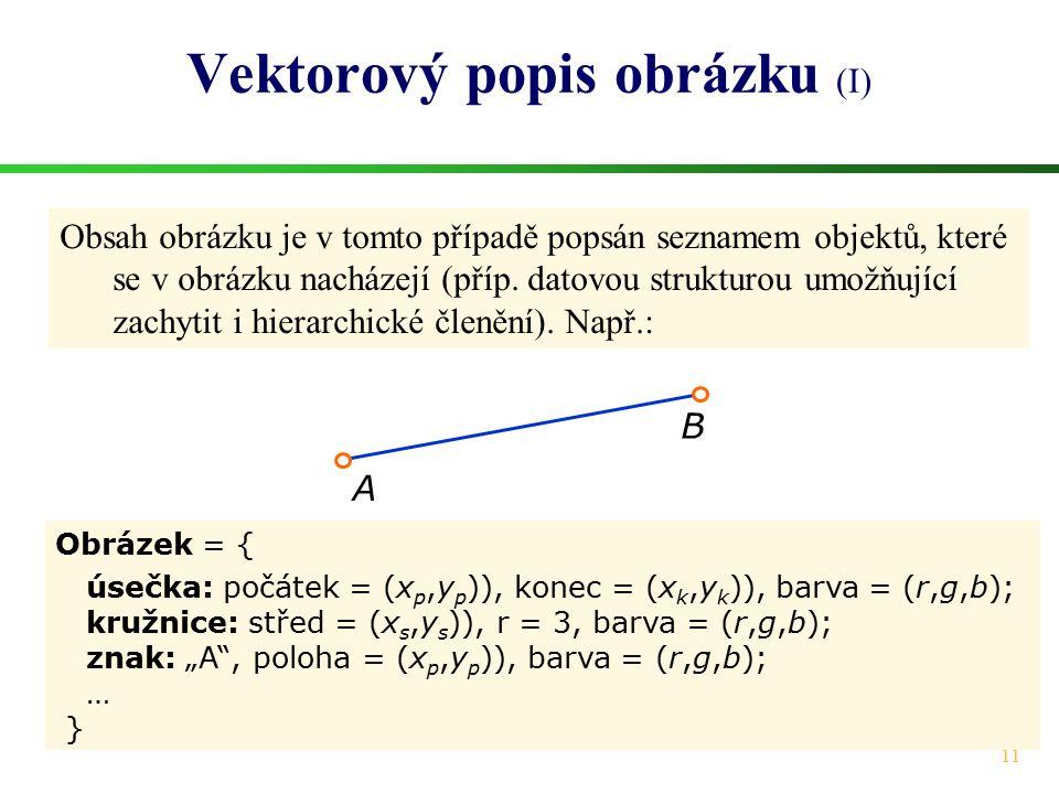 11 Vektorový popis obrázku (I) Obrázek = { úsečka: počátek = (x p,y p )), konec = (x k,y k )), barva = (r,g,b); kružnice: střed = (x s,y s )), r = 3,