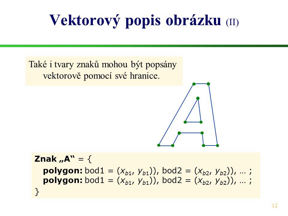 """12 Vektorový popis obrázku (II) Znak """"A"""" = { polygon: bod1 = (x b1, y b1 )), bod2 = (x b2, y b2 )), … ; } Také i tvary znaků mohou být popsány vektoro"""