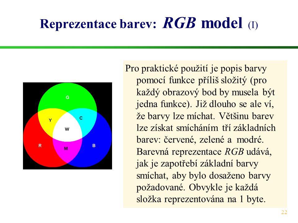 22 Reprezentace barev: RGB model (I) Pro praktické použití je popis barvy pomocí funkce příliš složitý (pro každý obrazový bod by musela být jedna fun