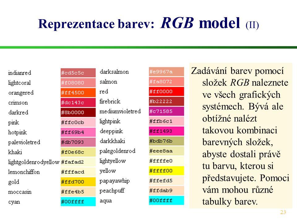 23 Reprezentace barev: RGB model (II) Zadávání barev pomocí složek RGB naleznete ve všech grafických systémech. Bývá ale obtížné nalézt takovou kombin