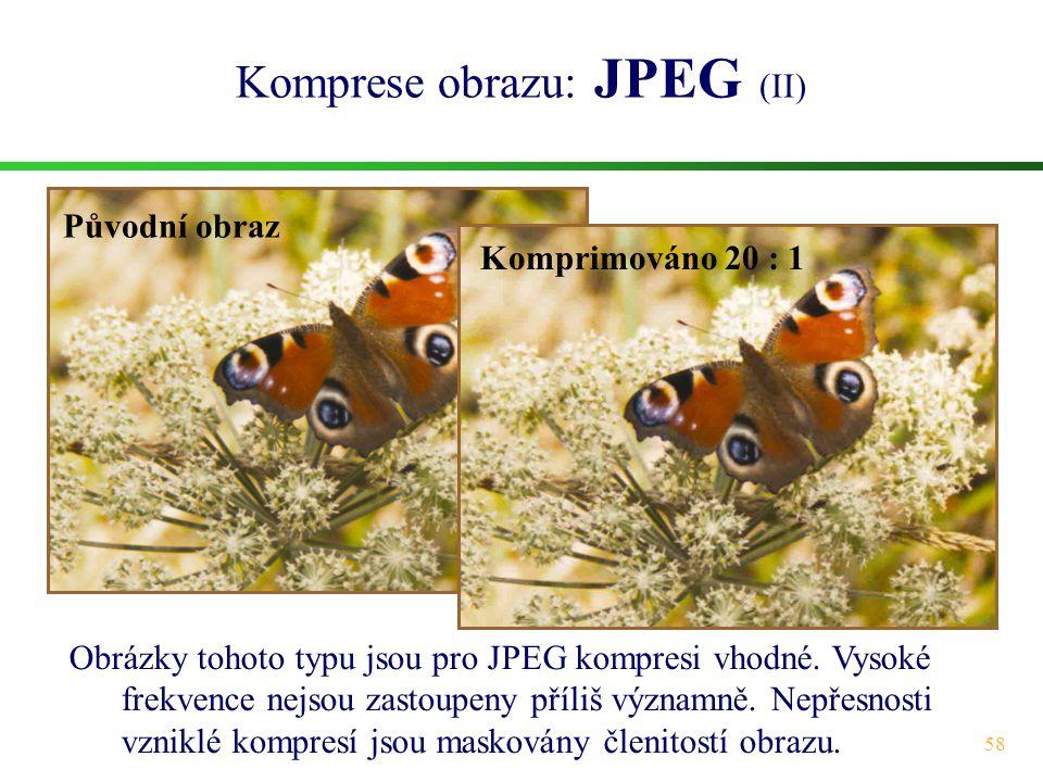 58 Komprese obrazu: JPEG (II) Obrázky tohoto typu jsou pro JPEG kompresi vhodné. Vysoké frekvence nejsou zastoupeny příliš významně. Nepřesnosti vznik