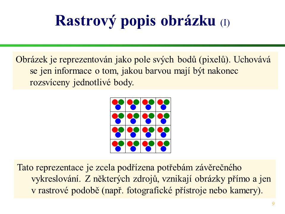 9 Rastrový popis obrázku (I) Obrázek je reprezentován jako pole svých bodů (pixelů). Uchovává se jen informace o tom, jakou barvou mají být nakonec ro