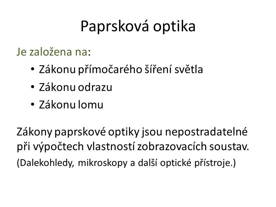 Paprsková optika Je založena na: Zákonu přímočarého šíření světla Zákonu odrazu Zákonu lomu Zákony paprskové optiky jsou nepostradatelné při výpočtech