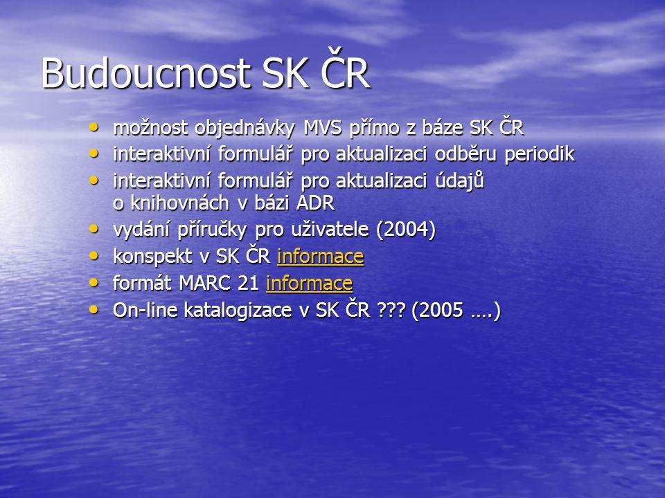 Budoucnost SK ČR možnost objednávky MVS přímo z báze SK ČR možnost objednávky MVS přímo z báze SK ČR interaktivní formulář pro aktualizaci odběru periodik interaktivní formulář pro aktualizaci odběru periodik interaktivní formulář pro aktualizaci údajů o knihovnách v bázi ADR interaktivní formulář pro aktualizaci údajů o knihovnách v bázi ADR vydání příručky pro uživatele (2004) vydání příručky pro uživatele (2004) konspekt v SK ČR informace konspekt v SK ČR informaceinformace formát MARC 21 informace formát MARC 21 informaceinformace On-line katalogizace v SK ČR .