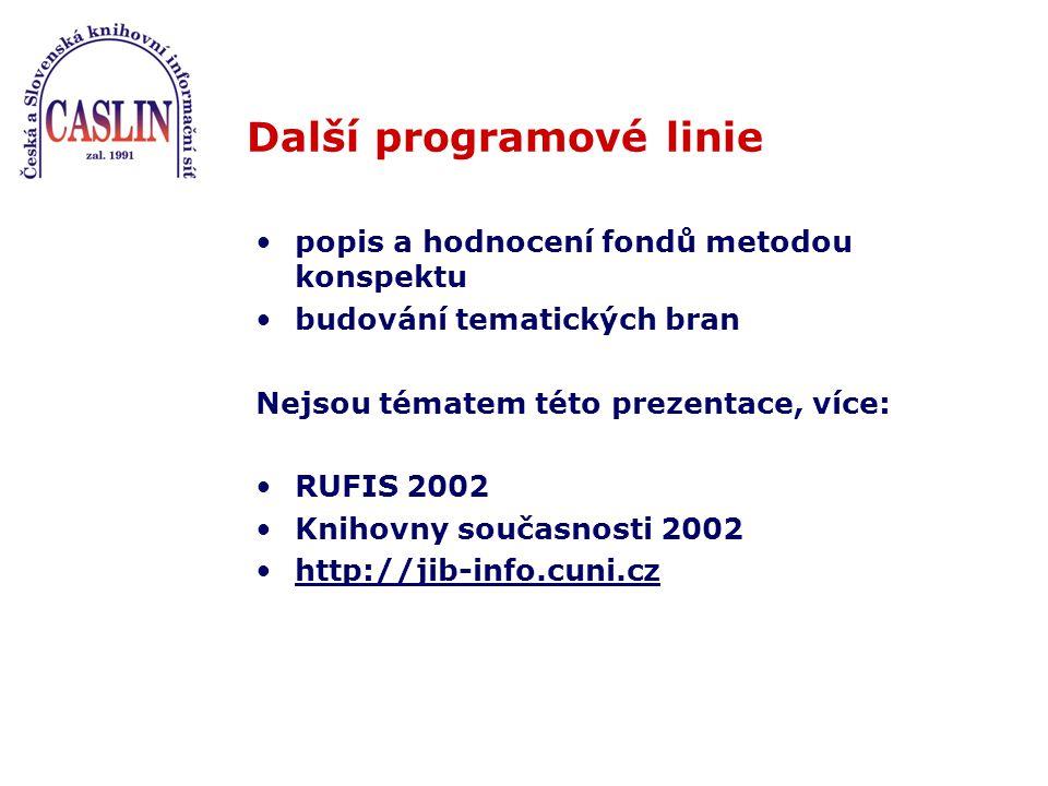 Další programové linie popis a hodnocení fondů metodou konspektu budování tematických bran Nejsou tématem této prezentace, více: RUFIS 2002 Knihovny současnosti 2002 http://jib-info.cuni.cz