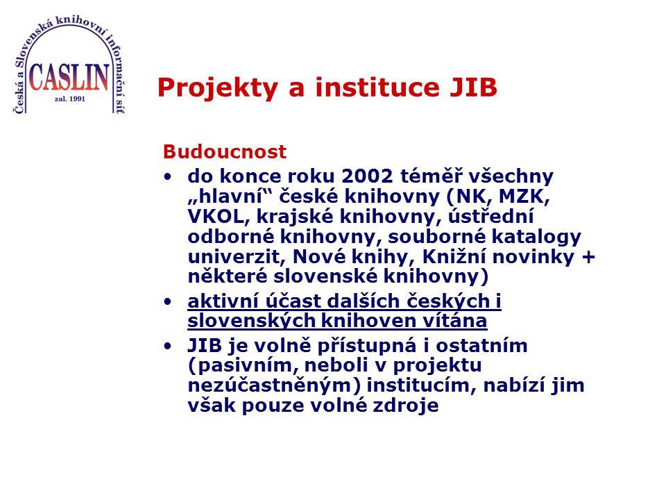 """Projekty a instituce JIB Budoucnost do konce roku 2002 téměř všechny """"hlavní české knihovny (NK, MZK, VKOL, krajské knihovny, ústřední odborné knihovny, souborné katalogy univerzit, Nové knihy, Knižní novinky + některé slovenské knihovny) aktivní účast dalších českých i slovenských knihoven vítána JIB je volně přístupná i ostatním (pasivním, neboli v projektu nezúčastněným) institucím, nabízí jim však pouze volné zdroje"""