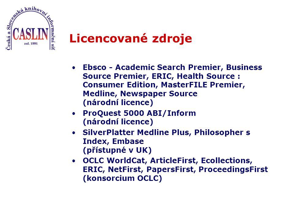 Licencované zdroje Ebsco - Academic Search Premier, Business Source Premier, ERIC, Health Source : Consumer Edition, MasterFILE Premier, Medline, News