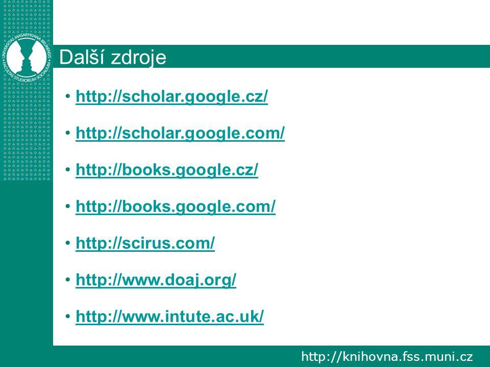 http://knihovna.fss.muni.cz Další zdroje http://scholar.google.cz/ http://scholar.google.com/ http://books.google.cz/ http://books.google.com/ http://