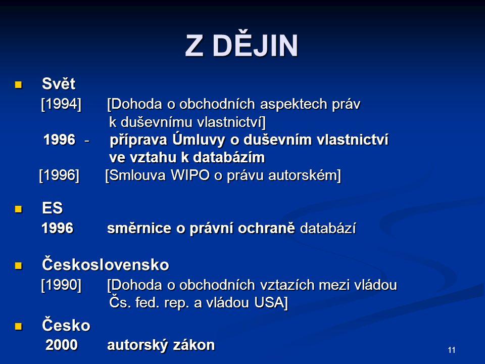 11 Z DĚJIN Svět Svět [1994] [Dohoda o obchodních aspektech práv [1994] [Dohoda o obchodních aspektech práv k duševnímu vlastnictví] k duševnímu vlastnictví] 1996 - příprava Úmluvy o duševním vlastnictví 1996 - příprava Úmluvy o duševním vlastnictví ve vztahu k databázím ve vztahu k databázím [1996] [Smlouva WIPO o právu autorském] [1996] [Smlouva WIPO o právu autorském] ES ES 1996 směrnice o právní ochraně databází 1996 směrnice o právní ochraně databází Československo Československo [1990] [Dohoda o obchodních vztazích mezi vládou [1990] [Dohoda o obchodních vztazích mezi vládou Čs.