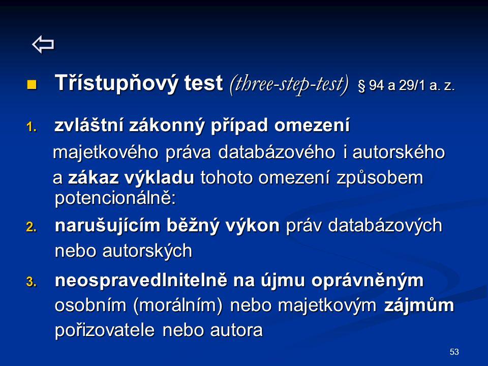 53  Třístupňový test (three-step-test) § 94 a 29/1 a.