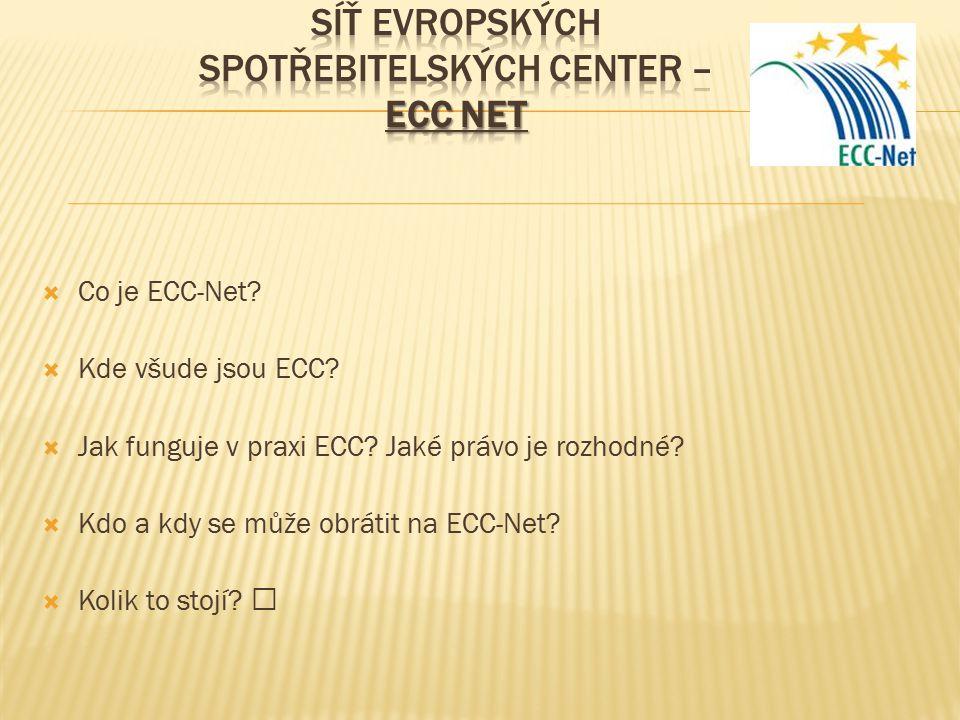  Co je ECC-Net. Kde všude jsou ECC.  Jak funguje v praxi ECC.