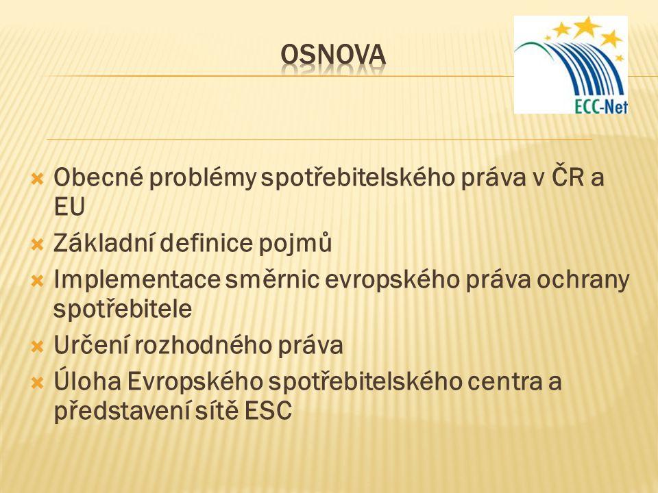  Obecné problémy spotřebitelského práva v ČR a EU  Základní definice pojmů  Implementace směrnic evropského práva ochrany spotřebitele  Určení roz