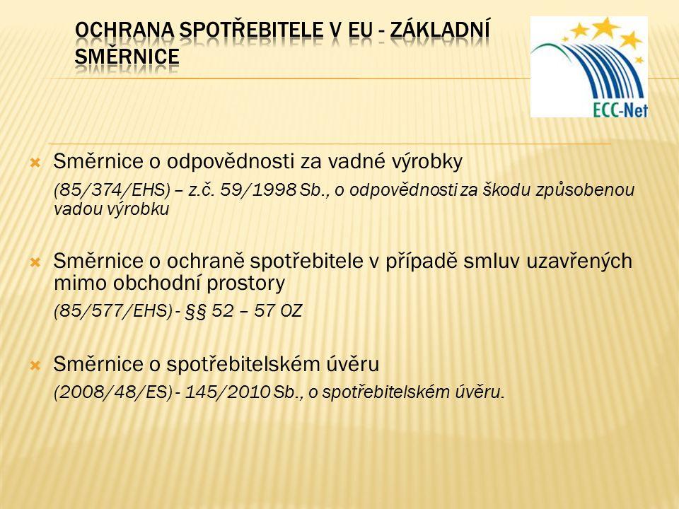  Směrnice o odpovědnosti za vadné výrobky (85/374/EHS) – z.č. 59/1998 Sb., o odpovědnosti za škodu způsobenou vadou výrobku  Směrnice o ochraně spot