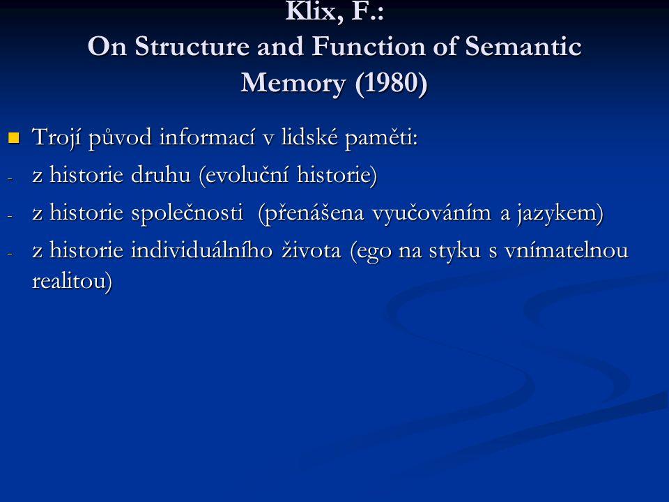 Klix, F.: On Structure and Function of Semantic Memory (1980) Trojí původ informací v lidské paměti: Trojí původ informací v lidské paměti: - z histor