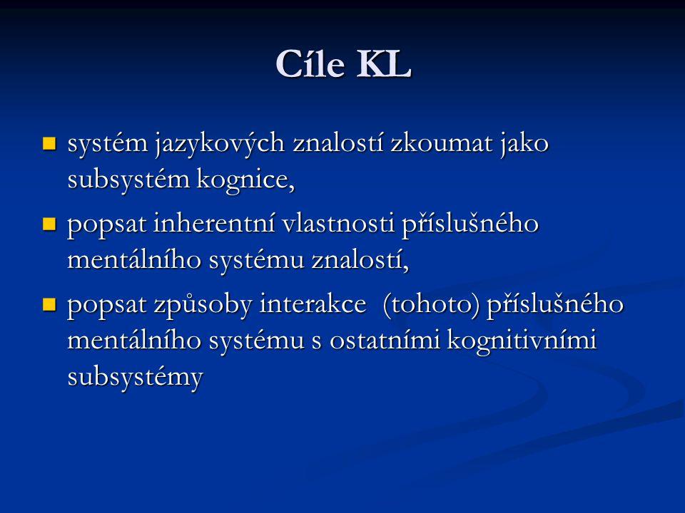 Cíle KL systém jazykových znalostí zkoumat jako subsystém kognice, systém jazykových znalostí zkoumat jako subsystém kognice, popsat inherentní vlastn