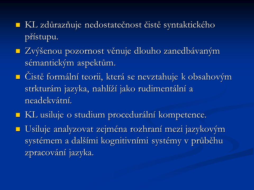 KL zdůrazňuje nedostatečnost čistě syntaktického přístupu. KL zdůrazňuje nedostatečnost čistě syntaktického přístupu. Zvýšenou pozornost věnuje dlouho