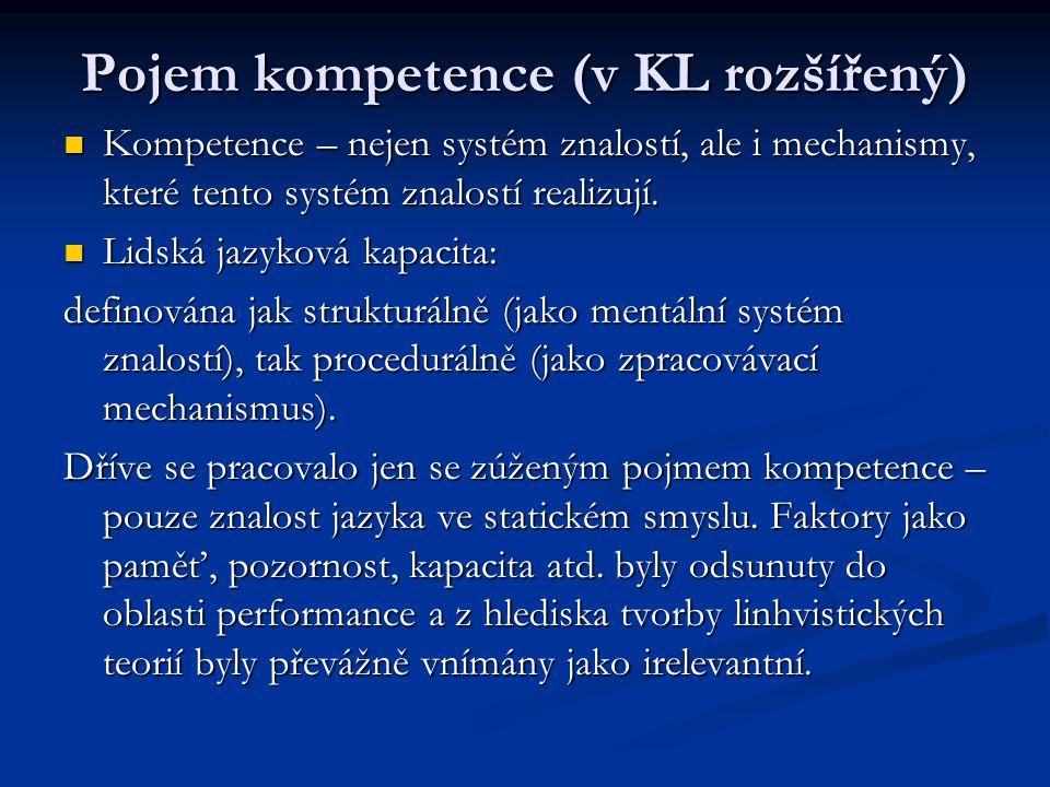 Pojem kompetence (v KL rozšířený) Kompetence – nejen systém znalostí, ale i mechanismy, které tento systém znalostí realizují. Kompetence – nejen syst