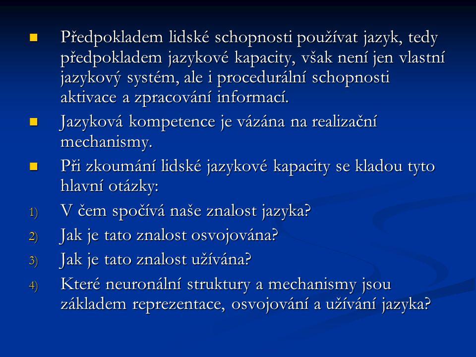 1 – zkoumá teoretická lingvistika 2 a 3 – zkoumá psycholingvistika 4 – zkoumá neurolingvistika KL – integrující přístup Vystupuje s požadavkem zkoumat celek jazykového chování v jeho kognitivní komplexnosti.