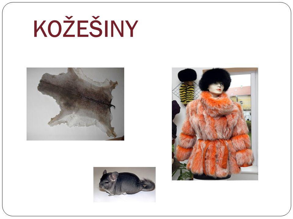 Stavba kožešinové kožky Kožešinová kožka se skládá ze dvou hlavních částí: vlastní kůže (řemen) kožešinová srst (vrstva chlupů) Plošné rozdělení kožky Kožka se dělí na několik částí podle kvality srsti.