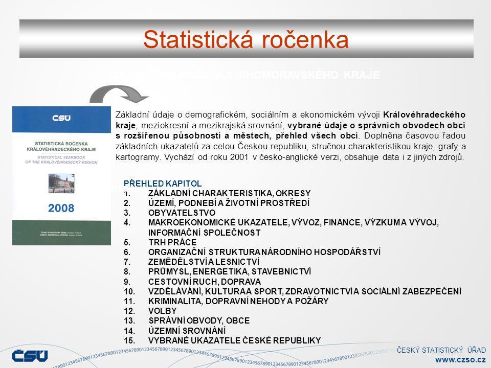 ČESKÝ STATISTICKÝ ÚŘAD www.czso.cz Statistická ročenka STATISTICKÁ ROČENKA JIHOMORAVSKÉHO KRAJE PŘEHLED KAPITOL 1.ZÁKLADNÍ CHARAKTERISTIKA, OKRESY 2.Ú