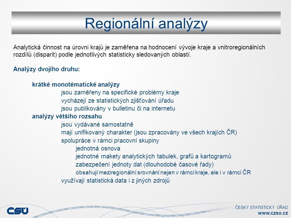 ČESKÝ STATISTICKÝ ÚŘAD www.czso.cz Regionální analýzy Analytická činnost na úrovni krajů je zaměřena na hodnocení vývoje kraje a vnitroregionálních ro