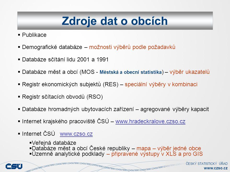 ČESKÝ STATISTICKÝ ÚŘAD www.czso.cz PUBLIKACE ČSÚ Hradec Králové Zdroje dat o obcích  Publikace  Demografické databáze – možnosti výběrů podle požada