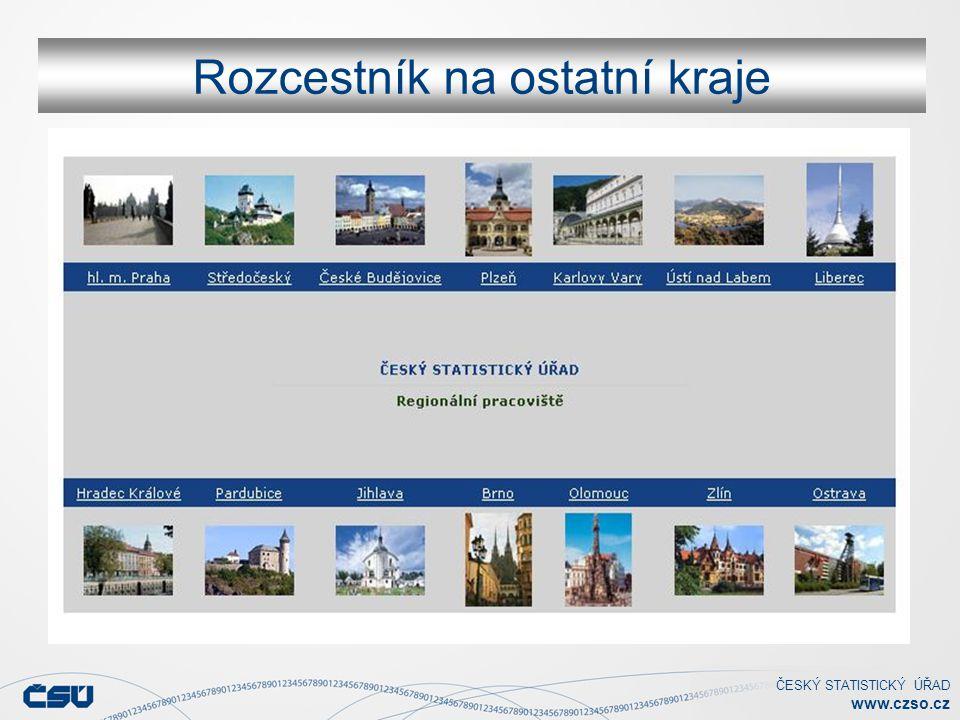 ČESKÝ STATISTICKÝ ÚŘAD www.czso.cz Rozcestník na ostatní kraje