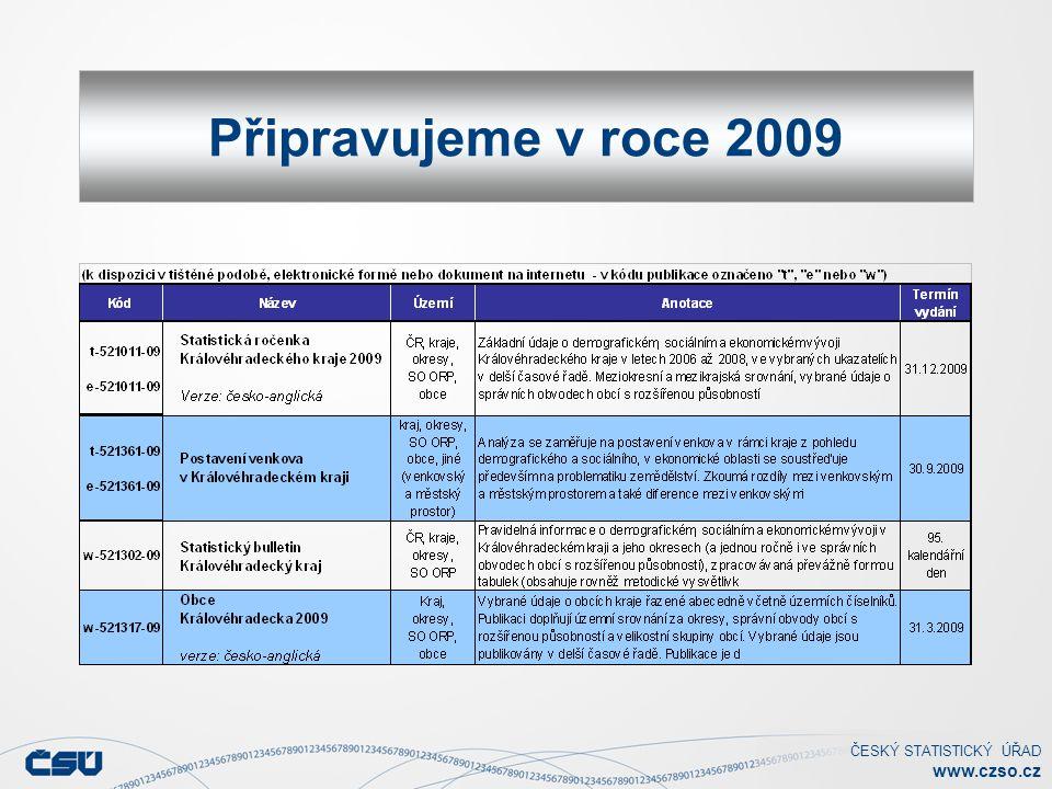 ČESKÝ STATISTICKÝ ÚŘAD www.czso.cz Připravujeme v roce 2009