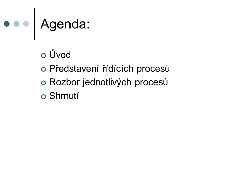 Agenda: Úvod Představení řídících procesů Rozbor jednotlivých procesů Shrnutí