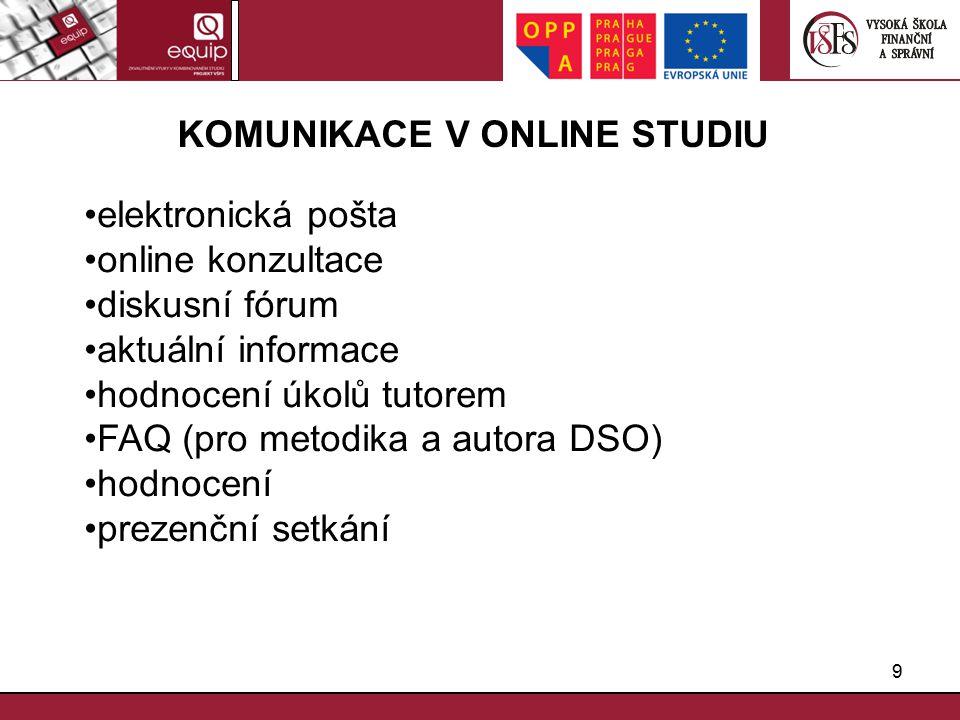 9 KOMUNIKACE V ONLINE STUDIU elektronická pošta online konzultace diskusní fórum aktuální informace hodnocení úkolů tutorem FAQ (pro metodika a autora DSO) hodnocení prezenční setkání