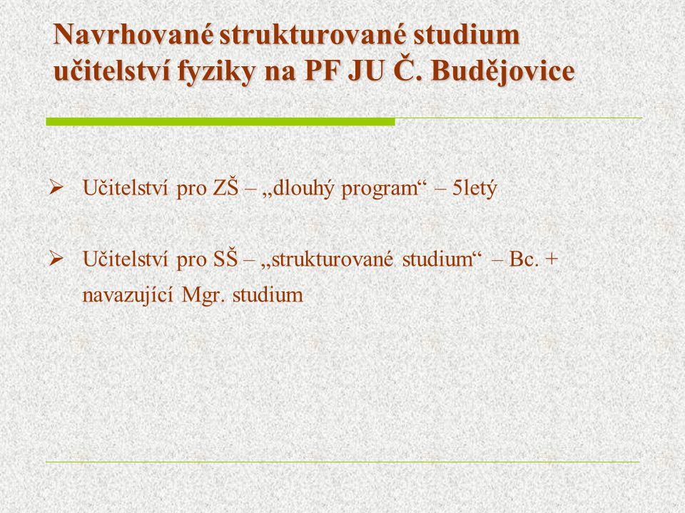 """Navrhované strukturované studium učitelství fyziky na PF JU Č. Budějovice  Učitelství pro ZŠ – """"dlouhý program"""" – 5letý  Učitelství pro SŠ – """"strukt"""