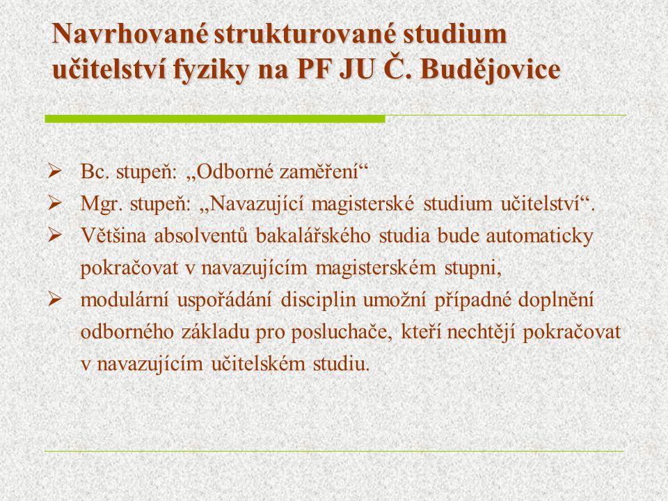 """Navrhované strukturované studium učitelství fyziky na PF JU Č. Budějovice  Bc. stupeň: """"Odborné zaměření""""  Mgr. stupeň: """"Navazující magisterské stud"""