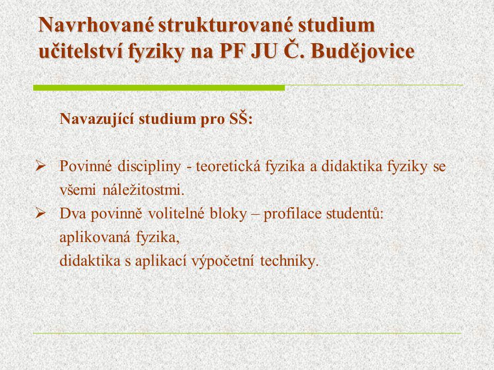 Navrhované strukturované studium učitelství fyziky na PF JU Č. Budějovice Navazující studium pro SŠ:  Povinné discipliny - teoretická fyzika a didakt