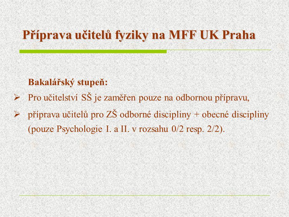 Příprava učitelů fyziky na MFF UK Praha Bakalářský stupeň:  Pro učitelství SŠ je zaměřen pouze na odbornou přípravu,  příprava učitelů pro ZŠ odborn