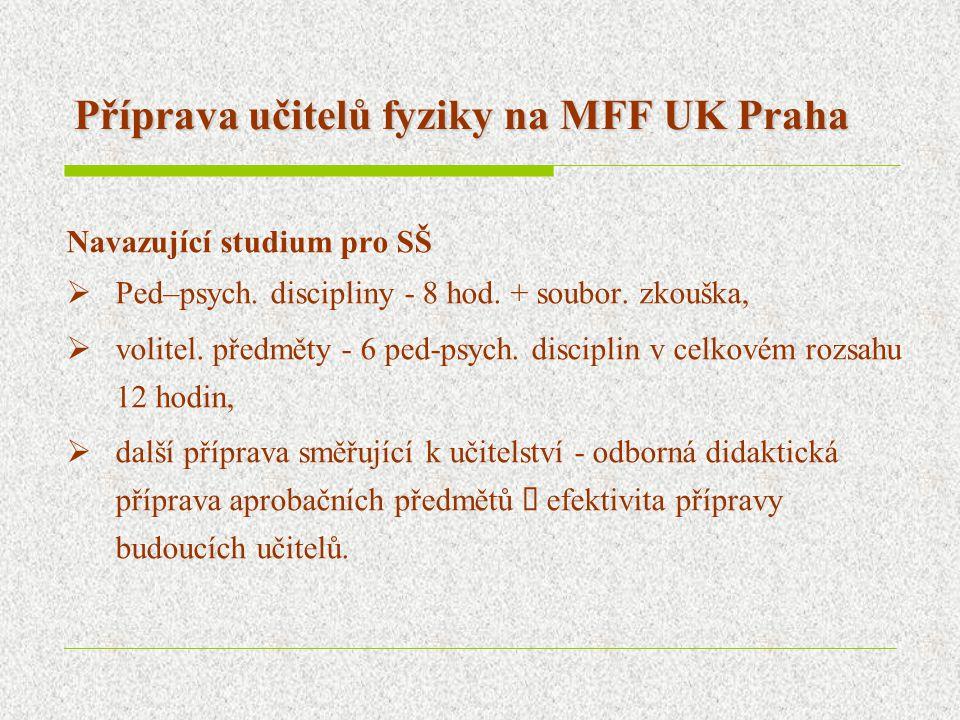 Příprava učitelů fyziky na MFF UK Praha Navazující studium pro SŠ  Ped–psych. discipliny - 8 hod. + soubor. zkouška,  volitel. předměty - 6 ped-psyc