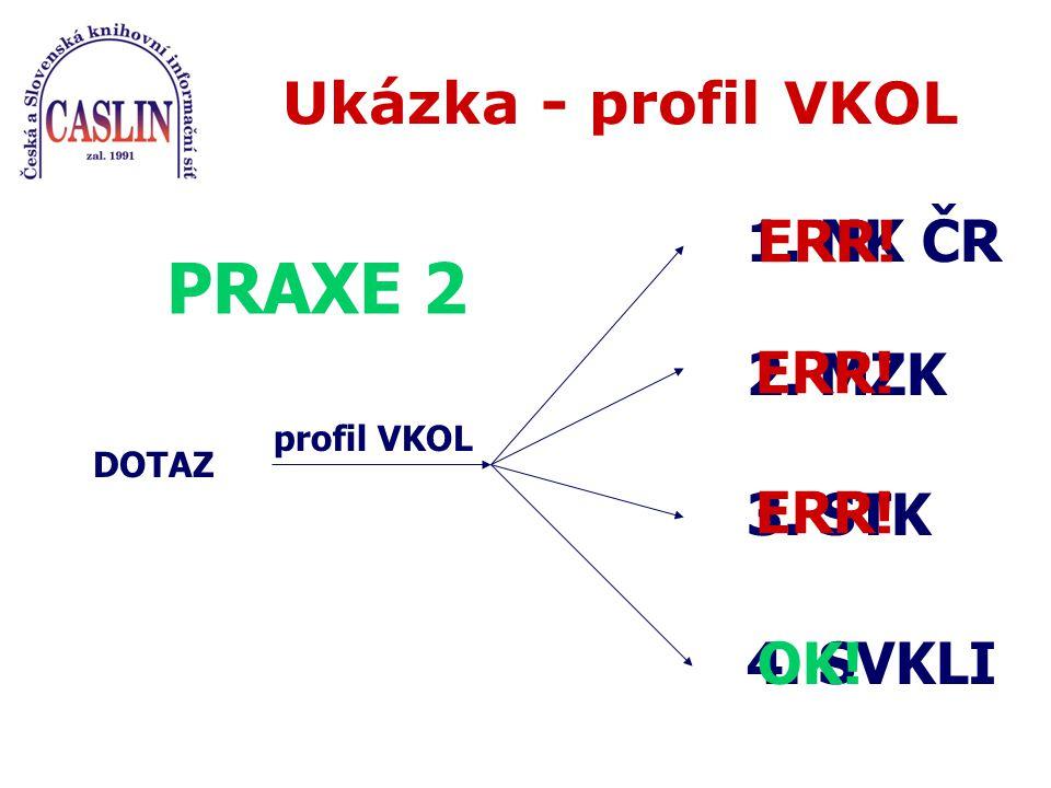 Ukázka - profil VKOL DOTAZ profil VKOL 1. NK ČR PRAXE 2 ERR! 2. MZK 3. STK 4. SVKLI ERR! OK! ERR!