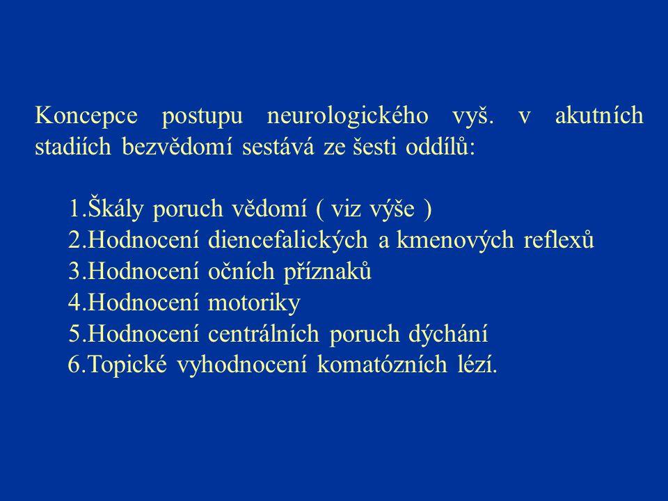 Koncepce postupu neurologického vyš. v akutních stadiích bezvědomí sestává ze šesti oddílů: 1.Škály poruch vědomí ( viz výše ) 2.Hodnocení diencefalic