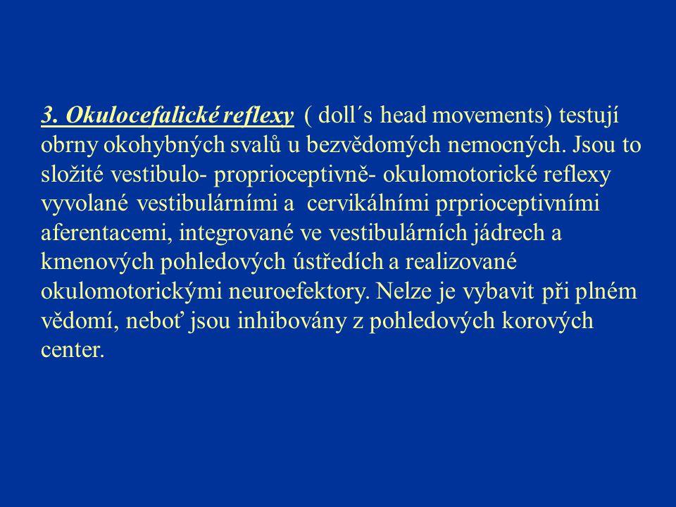 3. Okulocefalické reflexy ( doll´s head movements) testují obrny okohybných svalů u bezvědomých nemocných. Jsou to složité vestibulo- proprioceptivně-