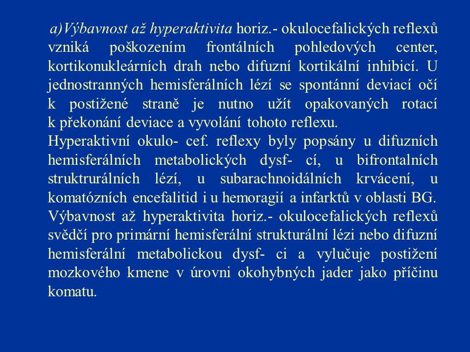 a)Výbavnost až hyperaktivita horiz.- okulocefalických reflexů vzniká poškozením frontálních pohledových center, kortikonukleárních drah nebo difuzní k